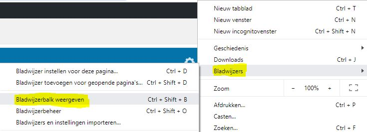 Bladwijzerbalk weergeven in Chrome